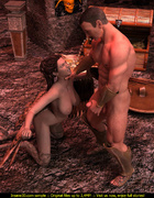 Big tits chick with hawk legs and wings sucks guy's cock and gets fucked