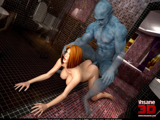 Big blue semi invisible man takes brunette - Cartoon Sex - Picture 3
