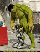 Angry Hulk cools off when blonde superhero sucks…