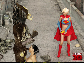 Super Girl sees alien predator fucking black - Cartoon Sex - Picture 2