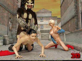 Super Girl sees alien predator fucking black - Cartoon Sex - Picture 3