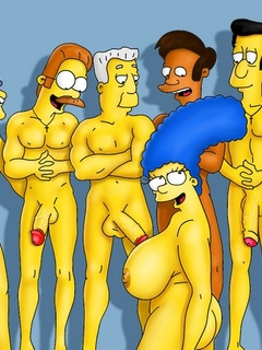 Ladies from Simpsons porn enjoy gangbanging together - Picture 1