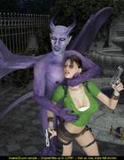 Awful purple demon with long tail and horns…