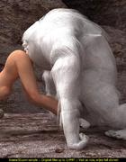Huge white 3D yeti licking sweet girl's ass before…