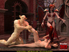 Gorgeous demoness and her enslaved orc torturing cute redhead in her dungeon