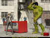 Sexy blonde vixen in a tight suit fucking with overboard 3D Hulk
