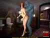 Blue semitransparent golem expels his cum onto ginger chick's 3D huge