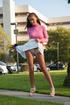 Busty brunette teen in a white skirt gets naughty…