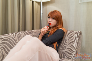 Ginger ladyboy in glasses sucking man's meat - XXXonXXX - Pic 7
