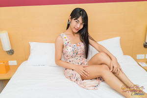 Lovely ladyboy makes her cock stiff jerking off - XXXonXXX - Pic 1