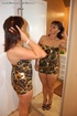 Brunette mom in a leopard dress and high heels…