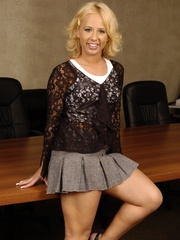 Cute petite blonde in black net top and black underwear - Picture 2