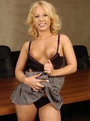 Cute petite blonde in black net top and black underwear - Picture 8