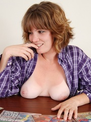 Sweet sexy chubby babe in blue and white checkered shirt - Picture 1