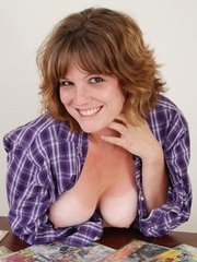 Sweet sexy chubby babe in blue and white checkered shirt - Picture 15