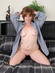 Big bodied chubby damsel in grey male shirt undresses on - Picture 10