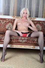 blonde red panties and