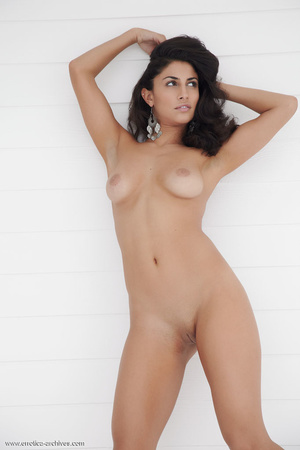 Brunette with dangling earrings naked in - XXX Dessert - Picture 15