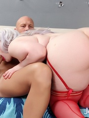 Bald guy bangs a whale of a woman on a white sofa with a - Picture 6