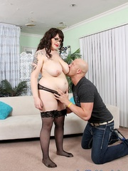 Chubby tattooed brunette does the deed with a bald dude. - Picture 4