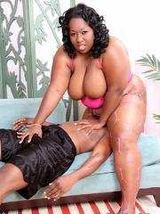 Obese black girl in lingerie takes BBC on a blue sofa. - Picture 1