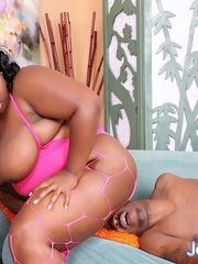 Obese black girl in lingerie takes BBC on a blue sofa. - Picture 10