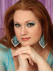 Jumbo brown-haired gal in cyan fishnet lingerie struts - Picture 12