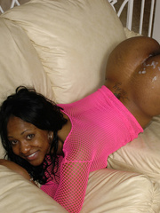 Pink fishnet clad Pebbles porked wit white dick on the - Picture 16