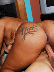 Inked honey, Patty Cake, pounded hard on a black sofa. - Picture 16