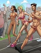 Naked cartoon marathon and sloppy doggy style in the public toilet