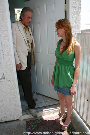 Redhead in a green dress and denim skirt does an old man on the couch. - XXXonXXX - Pic 2