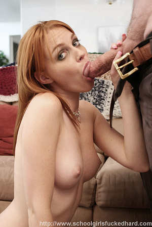Redhead in a green dress and denim skirt does an old man on the couch. - XXXonXXX - Pic 9