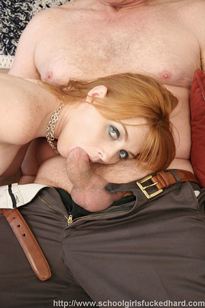 Redhead in a green dress and denim skirt does an old man on the couch. - XXXonXXX - Pic 11