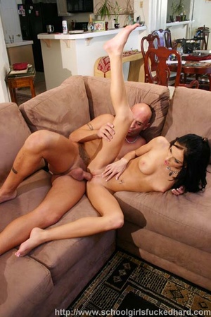 Twiggy brunette gets drilled and facialled in the living room. - XXXonXXX - Pic 12