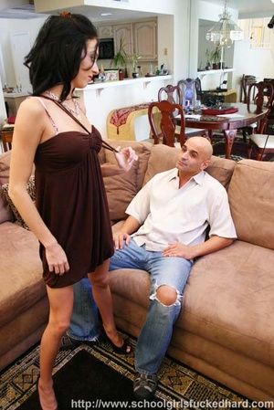 Bald guy bangs a slender brunette on a brown couch. - XXXonXXX - Pic 5