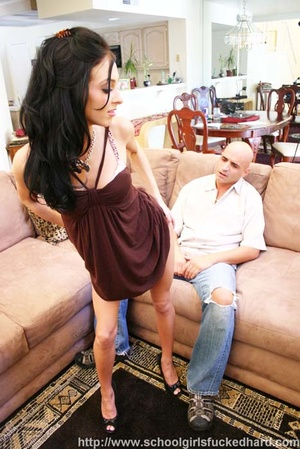 Bald guy bangs a slender brunette on a brown couch. - XXXonXXX - Pic 6