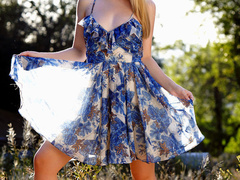 Awesome blonde in a flowered short dress and white - XXXonXXX - Pic 1