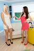 Blonde coed in a white dress seduces her brunette…