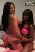 Busty chick in pink fishnet outfit lets a black…