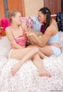 Lesbian teens in pigtails do a double-headed dildo…