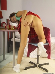 Chick in a green top and red plaid skirt spreads - XXXonXXX - Pic 6