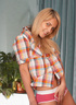 Blonde in a flannel shirt and red panties ditches…