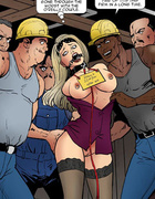 Blonde slut roped and gagged gets group fucked in the building site. UNCUT
