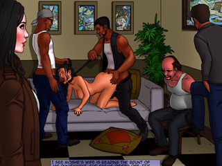 Shirt-haired brunette gets gangbanged - BDSM Art Collection - Pic 3