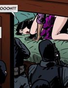 Masked commandos rush into the room where brunette…
