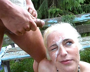 One short-haired blondie takes facial while another one gets fucked on the beach - XXXonXXX - Pic 2