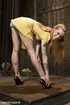 Tattooed blonde hottie gets bound and suspended…