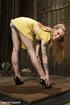 Tattooed blonde hottie gets bound and suspended…
