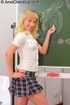 This small-titted blonde chick in school uniform prefers dirty anal banging