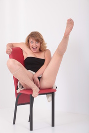 fair-haired coed nylons and